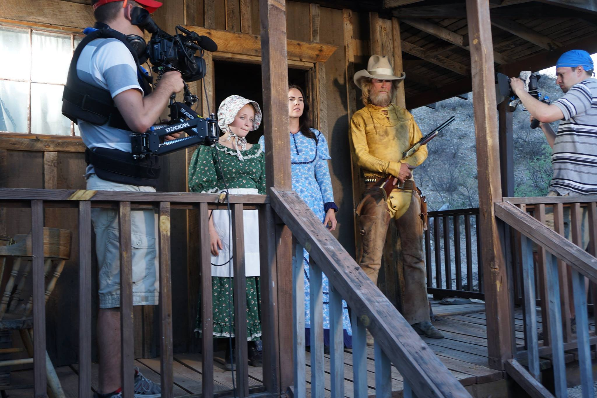 "Jenna on the set of the Western film ""Draw the Line"" by the Center for American Values. Photo credit: Jeff Badger"