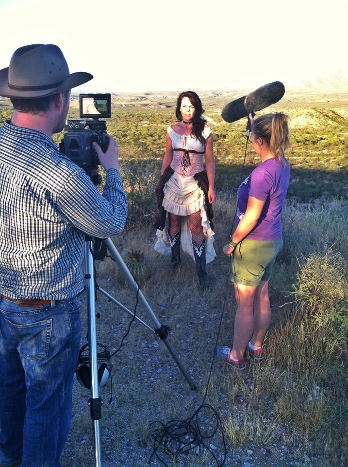 Jenna on camera for a film production at Gammon's Gulch Western movie set.