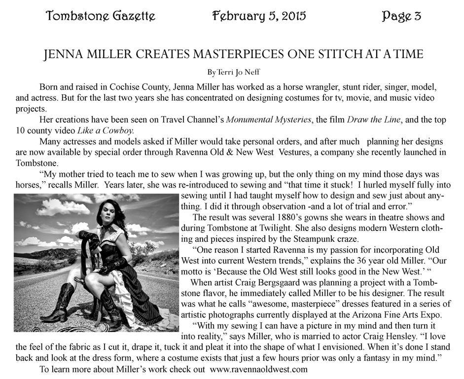 Tombstone Gazette Article